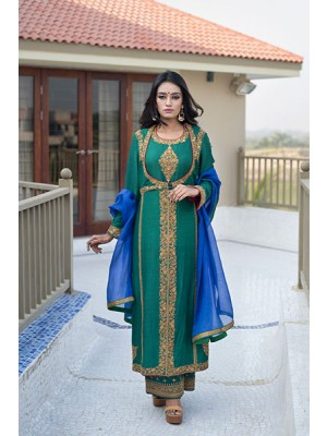 Green Muga Silk Hand Embroidered Kurta