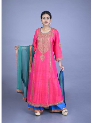 Pink Dhoopchaw Raw Silk Hand Embroidered Set