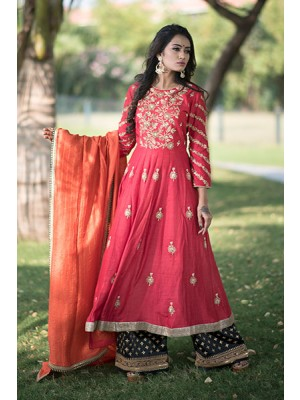 Red Muga Silk Hand Embroidered Anarkali