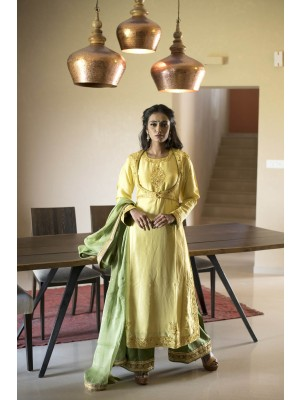 Yellow Dupioni Silk Hand Embroidered Set