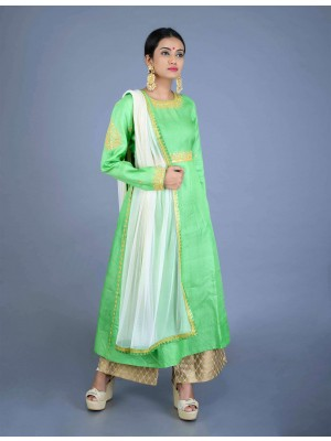 Green Tussar Muga Silk Hand Embroidered Kurta