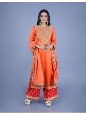 Orange Gaji Silk Hand Embroidered Kurta