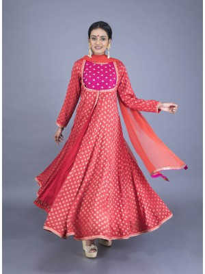 Tomato Red Muga Butti Hand Embroidered Angarkha