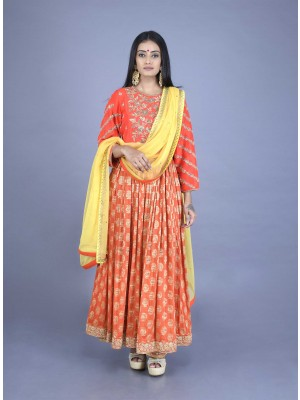 Orange Muga Butti Hand Embroidered Anarkali