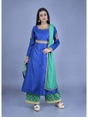 Blue Mulberry Silk Hand Embroidered Kurta